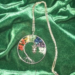Chakra stones tree of life necklace